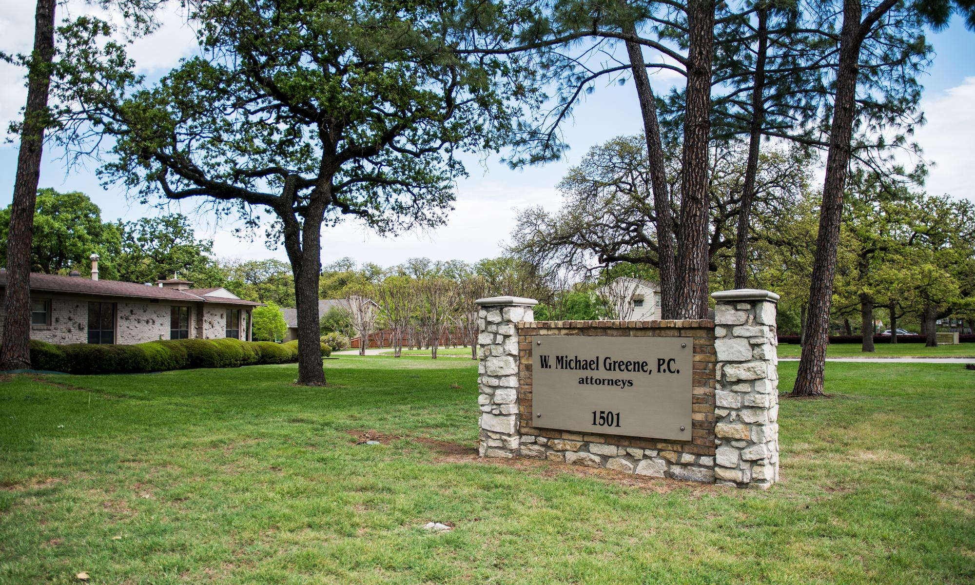 W Michael Greene office monument sign wide angle shot