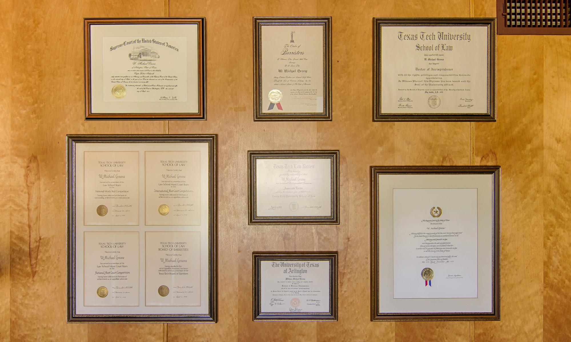W Michael Greene's plaques and certificates and awards